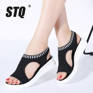 STQ women sandals 2019 new female shoes women summer wedge comfort sandals ladies flat slingback sandals women sandalias QS808 CJ191128