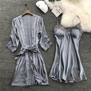 Göğüs Pedleri Seksi Dantel pijamalar Gece Elbise Elbiseler Kadınlar Gecelik Robe Nighty Ev Elbise Sleeping ile ZOOLIM İpek Robe