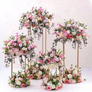 أعمدة الزفاف ديكور أركان المعادن الذهب زفاف زهرة تقف باقة زينة محور زهرية