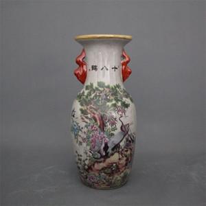 Jingdezhen cerâmica antiga Qianlong pastel vaso 18 guindaste casa decoração armário antigo exibir peças da decoração do vaso Festival Ceramic
