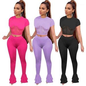 Two Piece Set Fashion Mesh Panelled Short Sleeve Crop Top Long Flares Pants Womens Tracksuits Natural Color