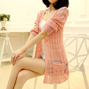 Moda de punto de Cardigan bolsillo suelto hueco de la manga larga jersey mujer femeninas rebecas abrigos Jerseys Prendas de abrigo