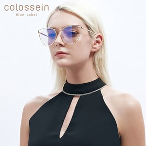 COLOSSEIN Cat Eye Sunglasses Women Flat Eyewear New Fashion Coating Glasses Golden Metal Frame gafas de sol mujer UV400 SH190924