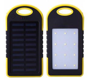 새로운 5000mAh 태양 광 발전 충전기 모바일 전원 LED 캠핑 램프 손전등 듀얼의 USB 배터리 태양 전지 패널 핸드폰에 대한 방수 휴대용 은행