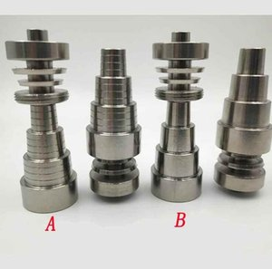 6 in 1 Domeless Titanium Nail Titanium GR2 Nails joint 10mm 14mm 18mm For Glass bong water Smoking pipe Universal Convenient Oil Rigs Sale