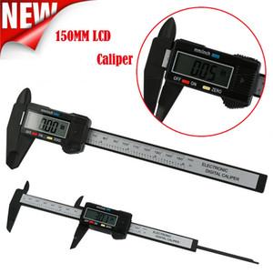 Digital Caliper 150mm 6 pulgadas LCD digitales electrónicos de fibra de carbono calibradores Vernier micrómetro herramienta de medición CCA11755 A-10pcs