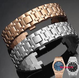 Kelebek Toka + 2 Bahar Barlar ile AP Saatler Erkekler Kadınlar Saat Kayışı Bilezik 28mm Gümüş Katı Paslanmaz Çelik Watchband
