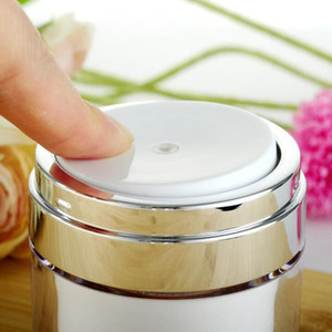 quente 15 30 50 g Pearl White Acrílico Airless Jar Rodada cosmético Creme Jar Bomba Cosmetic Packaging Bottle