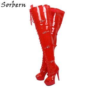 Red See Through PVC Boots Donna Crotch coscia alta donna Tacco alto Personalizzata su misura polpaccio Boot Unisex Taglia 5-15