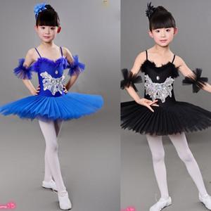 Balletto bambini Nero Tutu danza costumi in Swan Lake costumi balletto usura Ragazze Bambini fase ballo liscio abito Outfits