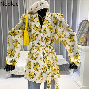 Neploe Floral Printed Slim Waist Blouse Women Long Sleeve Sun Protection Shirts Female Summer 2020 New Tops Blusas Mujer 1D726