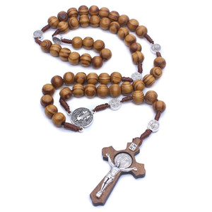 Fashion Handmade Round Bead Catholic Rosary Cross Religious Wood Beads Men Necklace Charm Gift Other Festive Party Supplies