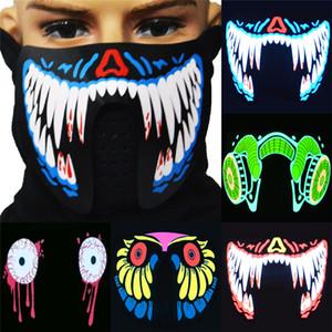 1 pcs moda led led luminoso piscando metade face máscara festa evento máscaras iluminar a dança cosplay impermeável K5818