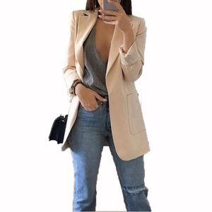 Spring 2020 Casual Women Black Coats Europe Fashion Streetwear Pockets Jacket Long Sleeve Ladies White Coats Office Work Suits