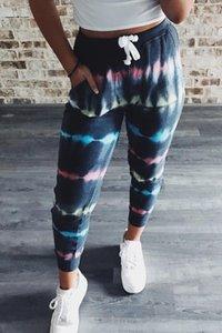 Donna Pantaloni Summer Slim Moda coulisse donna pantaloni comodi pantaloni Sport Womens Long Striped Tie Dye