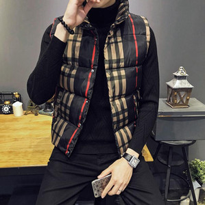 Plaid Winterjacken Herren-Winter-Thick-Weste Mens Sleeveless Jacken Slim Fit Stehkragen Colete Masculino Weste