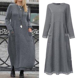 Elegant Lace Stiching Autumn Sweatshirts Dress Womens Autumn Sundress 2020 Casual Maxi Vestido Female Solid Hoodies Plus Size