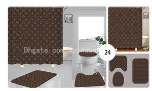 Feitos sob medida padrão geométrico impressão cortina de chuveiro Multi-função Waterproof Covers Cortina assento do toalete Set 3piece Brown Banho Accessorie