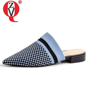 ZVQ 2019 summer new fashion popular gingham shoes woman outside low square heel woman slippers slip-on black blue ladies shoes