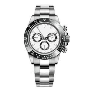 Men sports watch 40mm automatic mechanical waterproof watch silver black and white ceramic bezel 316L steel folding buckle