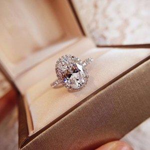 925 Sterling Silver hanno anelli di diamanti amore francobolli Bague per i gioielli cerimonia nuziale di aggancio insieme le donne parte gli amanti regalo con BOX