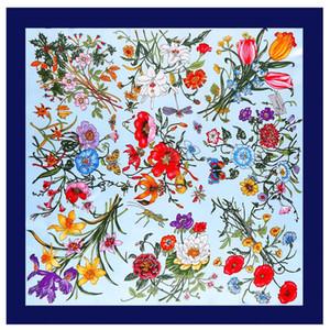 La Sra seda de la emulación toalla de pañuelos de seda de la tela cruzada de Big bufanda cuadrada diseñador de las mujeres bufandas flores femeninas Pintura chal