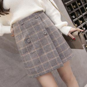 2019 Herbst Winter Plaid Wollrock Damen Kurzer Rock Mini A-Linie Harajuku Wollröcke Vintage Office Damen Jupe Femme Saia T190824