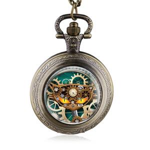 Fob Zinciri İzle Erkekler Kadınlar En Hediye HB803 ile Saat Desenli Yüksek Kalite Moda Kuvars Pocket Watch Dişli Kedi