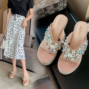 Glitter Slides High-heeled Shoes Lady String Bead Slippers Casual Rubber Flip Flops On A Wedge Slipers Women Low Jelly Heels