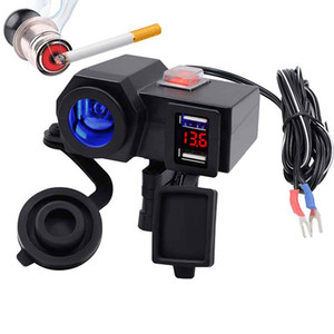 1PC 4.2A Waterproof Dual USB LED Voltmeter Cigarette Lighter Socket With Switch Car Motorcycle Charger
