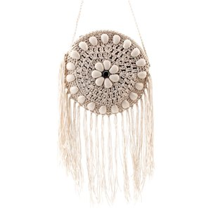 2020 Women Crossbody Bag Spring And Summer Stone Tassel Original Hand-woven Round Straw Bags Small Beach Women's Shoulder Bags