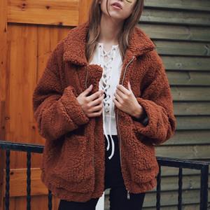 Femmes épais chaud fourrure Veste en laine d'agneau Automne Hiver Manteau Zipper TURN-Col Pocket Casual vêtement Camel Poilu Pardessus T190827