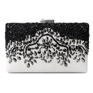 Bag Ladies Evening Bag Elegant Color Wallets Bead Black With Stone Chain Leather Clutch Shoulder Handbags Purse Women's Bnnvp