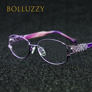 Women's Degree Eyeglasses Frame with Diamonds Rhinestone Golden Hollow Out Optical Eyeglasses Frame With Flower For Women