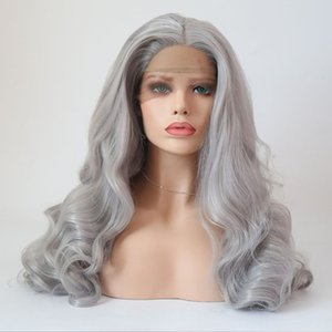 Hot Selling Long Wavy Grey Hair Color Heat Resistant Fiber Hair 180% Density Heat Resistant Wigs With Natural Hairline For Black Women