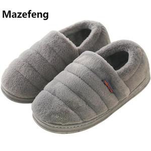 Mazefeng 2018 neuer Winter warm halten Frauen Flock Slippers Männer lässig Hausschuhe Baumwolle Unisex Lovers Slides Indoor-Schuhe