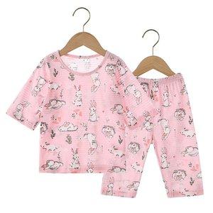 2PCS Boys Kız Tasarımcı Karikatür Bear Ev Giyim Çocuk pijamaları Çocuk Short Sleeve Suit Çocuk Ev Giyim Perakende ayarlar