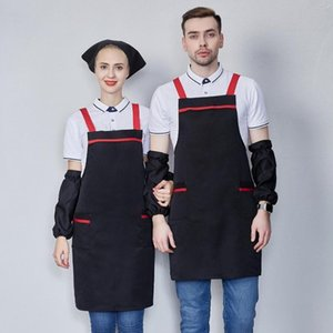 Kitchen Apron Cooking Baking Apron With Clean Sleeves Catering Halterneck Bib With 2 Pocket Sleeveless Aprons For Woman Men