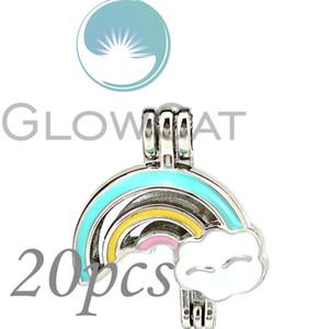 Colores Esmalte Rainbow Nube Perlas Jaula Esencial Difusor de aceite Perla Jaula Locket Colgante 20x KK1205