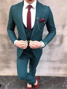 New Style One Button Handsome Peak Lapel Groom Tuxedos Men Suits Wedding Prom Dinner Best Man Blazer(Jacket+Pants+Tie+Vest) W208