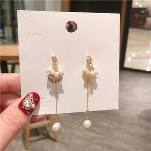 Orecchini lunghi coreani asimmetrici di conchiglia di mare temperamento di perla ornamenti di orecchio orecchini di perle di perle bohémien