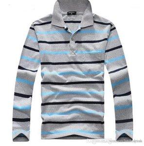 Tişört Tasarımcı Gevşek Uzun Kollu Tee Sonbahar Erkek Nefes Moda Erkek Stripe Tops