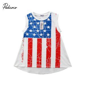 1-5T Impreso Star Girl vestidos de rayas cuarto de vestir de verano de julio bandera americana Día de la Independencia de las muchachas vestido ocasional de la muchacha ropa de playa