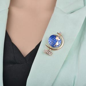 Kadınlar Rhinestone Broş Mayo Aksesuarlar b214 için Yüksek Kaliteli Emaye Mavi altın Globe Broş Pin Badge iyi hediyeler