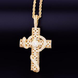 Animal Snake Croce uomo Collana con corda color oro catena d Bling zirconi monili di Hip Hop della roccia