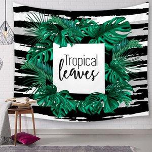 citations et feuilles tapisserie tropical géométrique tenture décoration tissu nature plante tenture murale couverture imprimée