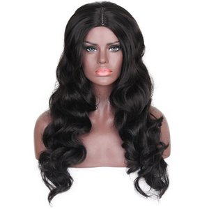 A Body Wave Hair Black Color Synthetic Wigs Heat Resistant Fiber Natural Hairline Long Length Wigs For Women 260g  Piece 28 Inches