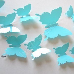 12pcs lot PVC DIY Wall Sticker New 3D Mirror Butterfly Sticker for Wall Window Party Supplies ZZA1383