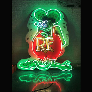 18inch Publicidade acrílica Rodapé Rat Fink Neon Signs Luz Visual Artwork Beer Bar cartaz da parede de vidro real