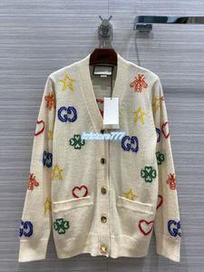 Laine Vintage High End Femmes Knitwear V-Neck Cardigan Chemises Pull Veste filles piste TENDU VISCOSE Lettres à manches longues Hauts tricotées